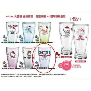 Hello Kitty ﹝40週年經典玻璃曲線杯﹞--粉紫英倫風 免運費!!!