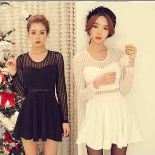 韓版甜美氣質透膚小洋裝謝師宴小禮服
