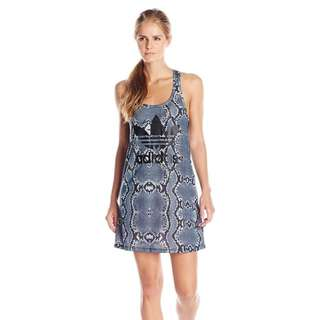 Adidas Originals Women's La Printed Trefoil Tank Dress Grey Black