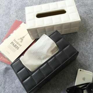 🎀歐式精緻皮質格紋通用面紙盒🎀黑/白2色
