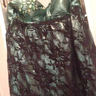 Green And Lace Formal Dress