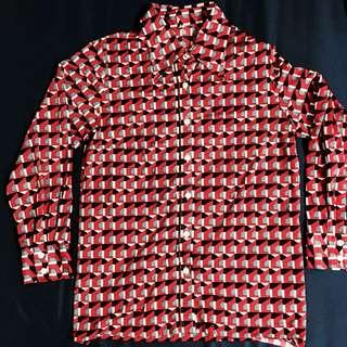 紅色幾何印花 古著緞面襯衫