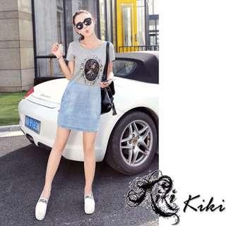 #旋轉小天使~Kiki潮流小鋪~#H10276#韓版夏季短袖修身顯瘦小清新牛仔連身裙