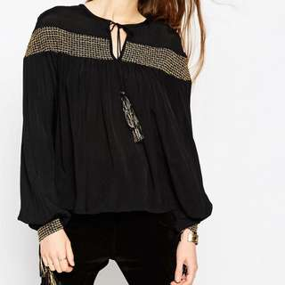 BNWT ASOS Gold Embroidery Top