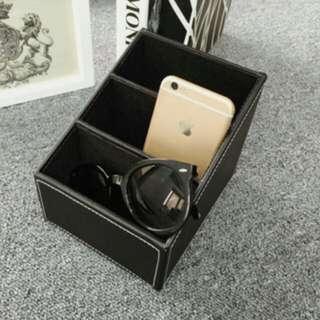 🎀歐式皮質客廳遙控器/筆筒/三格文具雜物置物盒/桌面收納盒