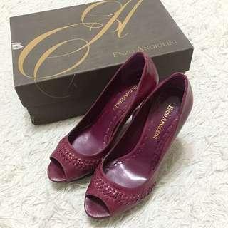 Enzo 紫酒紅編織魚口露趾細跟高跟鞋