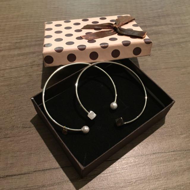 ✨2個一組 開口手環 珍珠款+方塊款 銀色款✨