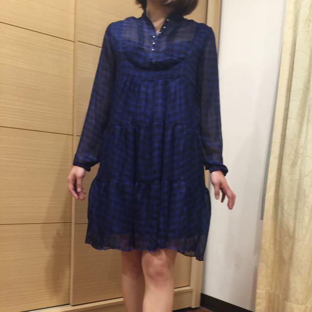 全新含運。復古透紗藍格子洋裝