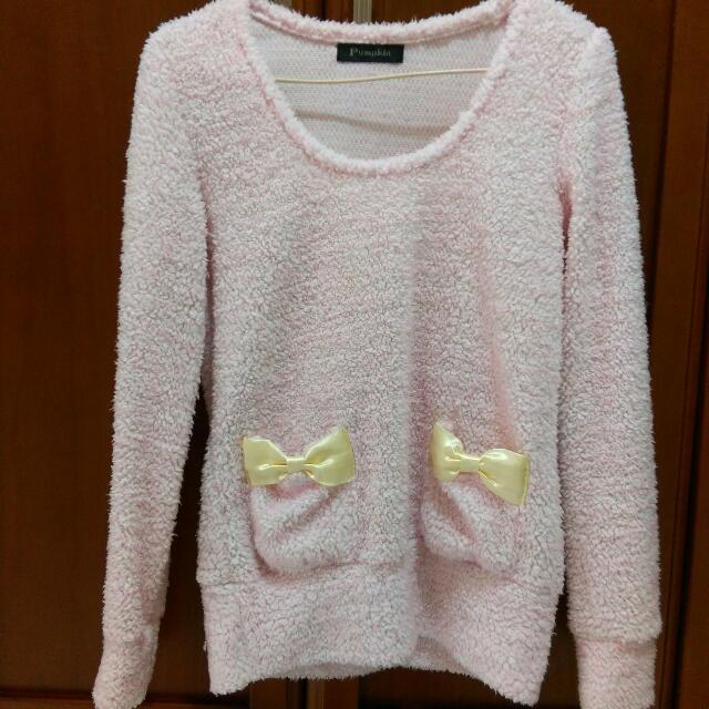 淡粉色棉花糖蝴蝶結毛衣