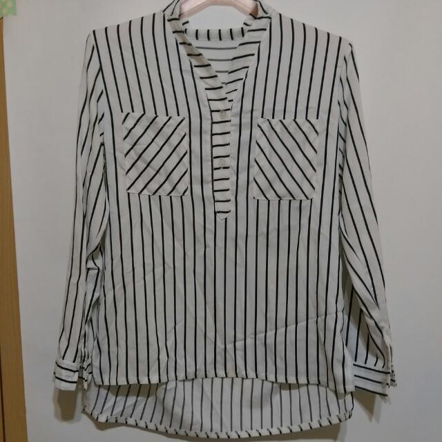 直條紋前短後長襯衫