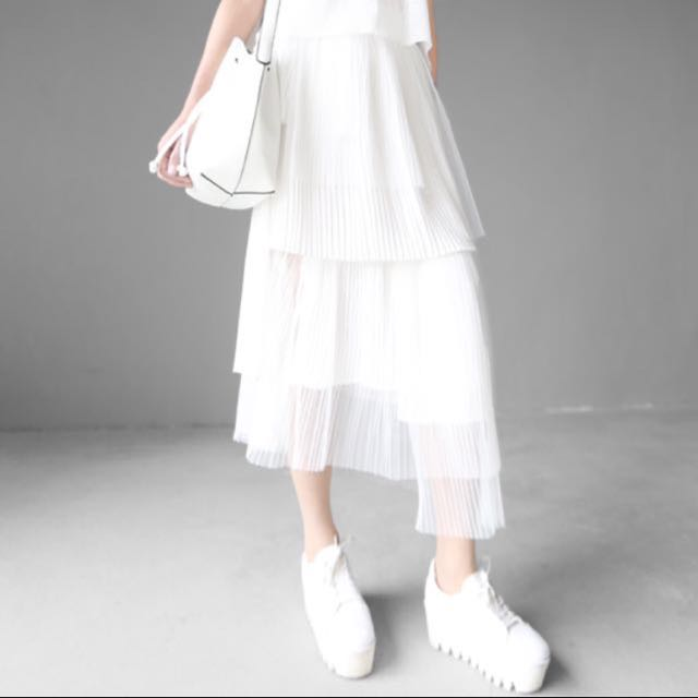 不規則設計 百摺 壓紋 裙 雪紡 絲內裡