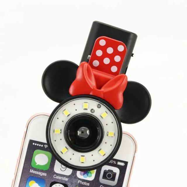 迪士尼Disney 米奇 米妮 手機特效補光燈 廣角微距三合一鏡 無暗角版