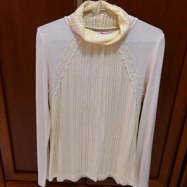 8happy 米白色蕾絲高領上衣