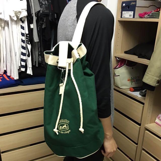 Hermes 愛馬仕 後背包 水桶包 手提包 托特包 白綠 帆布