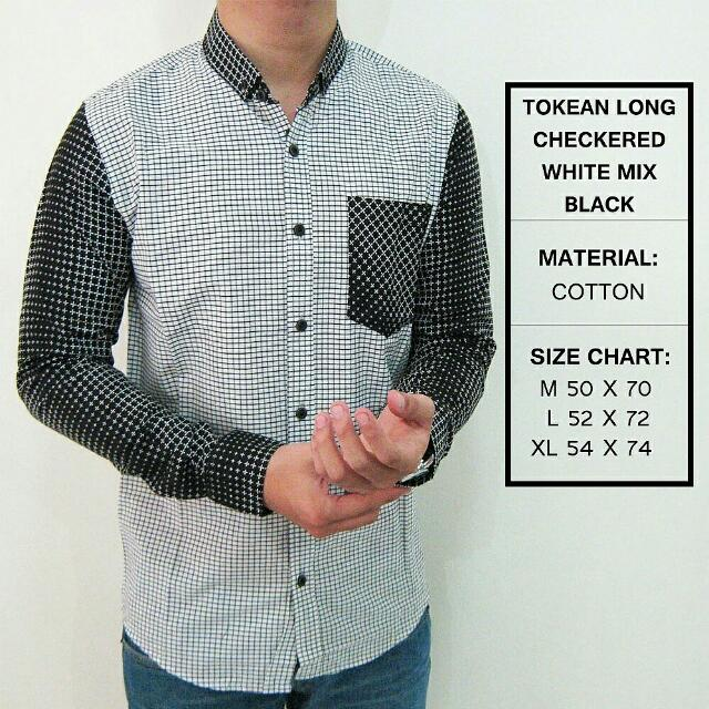 Long Checkered White Mix Black