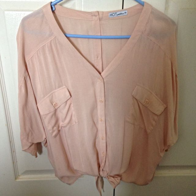Pale Pink Oversized Button Up, Size 12