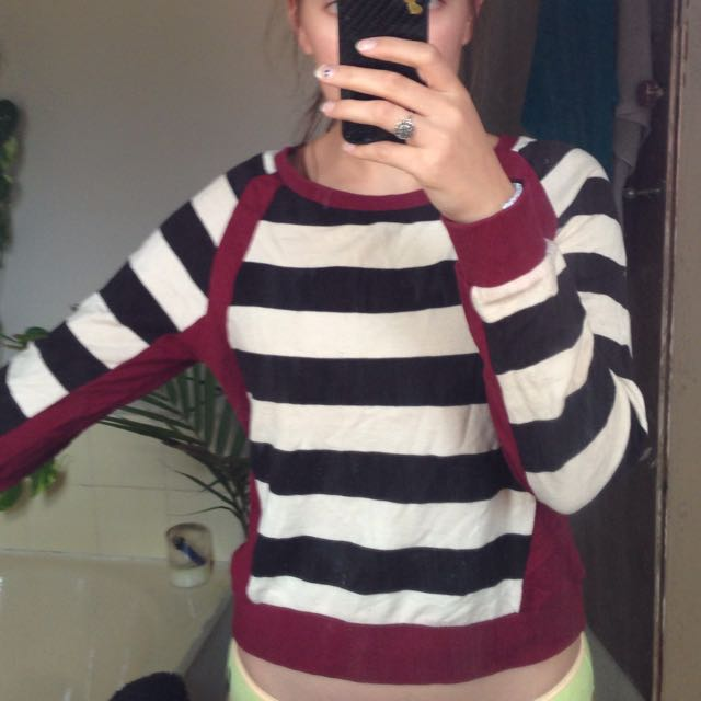Striped Black And White And Maroon Jumper