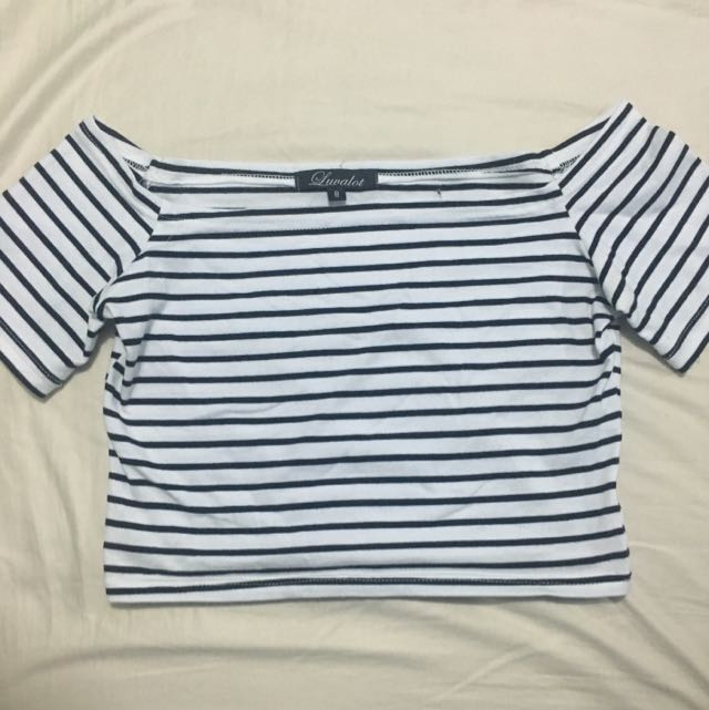 Striped Off Shoulder Crop