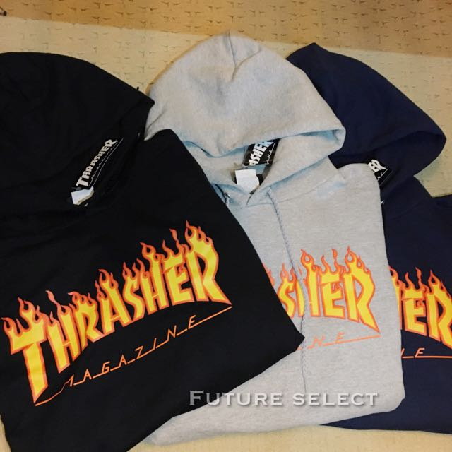 Thrasher 連帽Tee 黑灰藍
