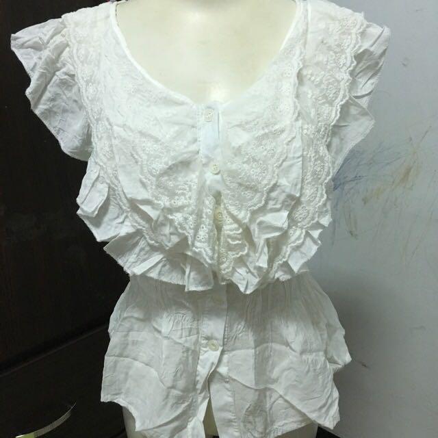 棉質拼蕾絲大v領上衣