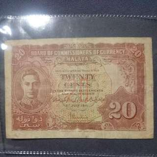 Malaya 1941 20 Cents Note - Used