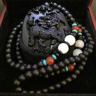 Pixiu Black Jade Pendant With Crystal Beaded Necklace