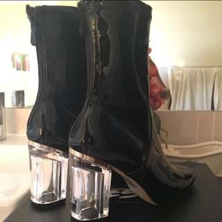 Black Patent Perspex Heel Boot
