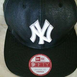 Leather New Era Baseball Cap 9 fifty Strapback