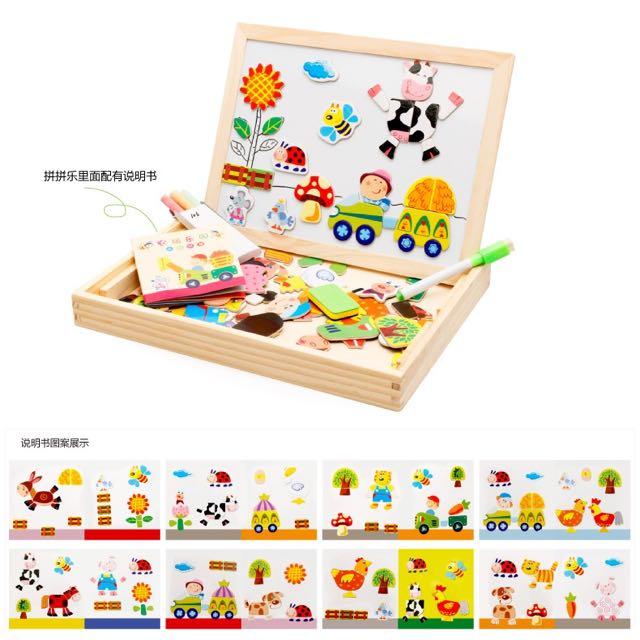 🎯寶寶男女孩嬰兒童木質拼圖玩具磁性拼拼樂木製早教益智力1-3-4歲