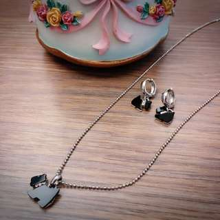 Elisa Jewelry 雪納瑞 銀白K頸鏈 耳飾 三件組