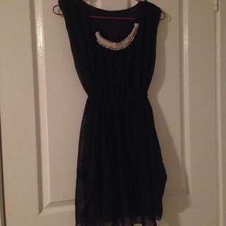Classy Black Dress With Gold Neck Piece