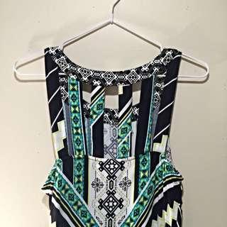 Green And White Geometric Shift Dress
