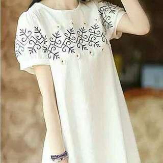 PO Korean Style Embroidery T-shirt Dress