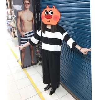👍🏻黑白條紋&寬褲套裝🎉
