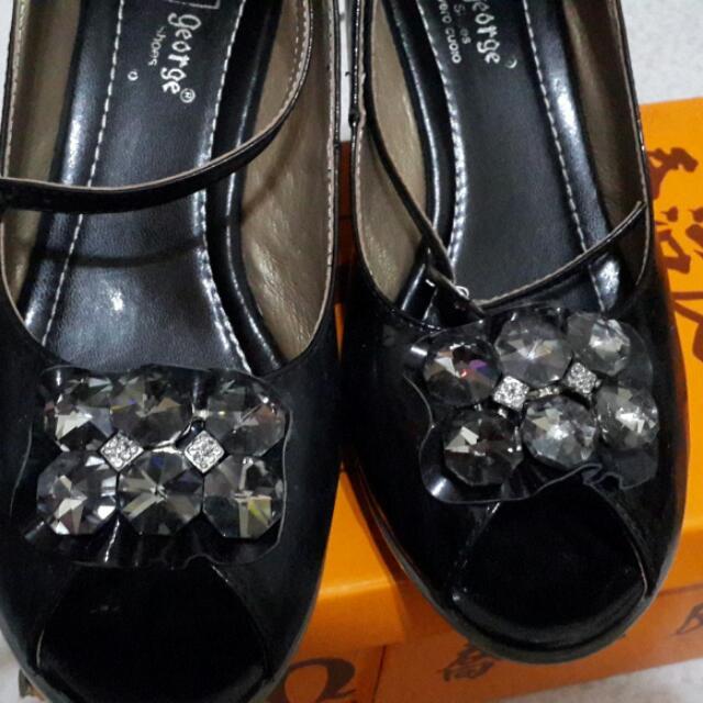 喬治真皮襄鑽亮片魚口根鞋●全新代售●尺碼23.5(含運店到店)