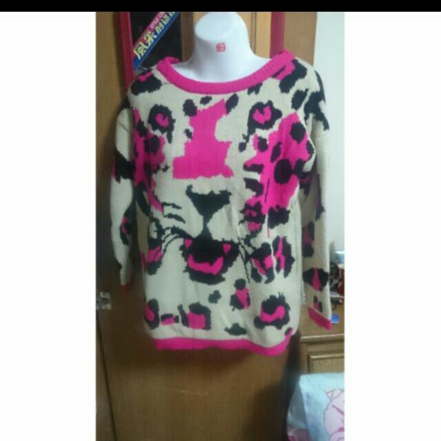 桃紅豹紋針織毛衣上衣