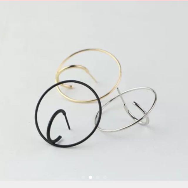 個性雙環耳環-黑