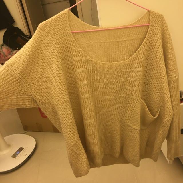 寬鬆版口袋米色毛衣