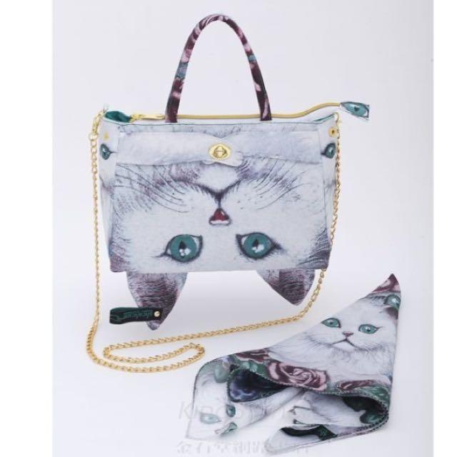 雜誌款貓咪包+絲巾