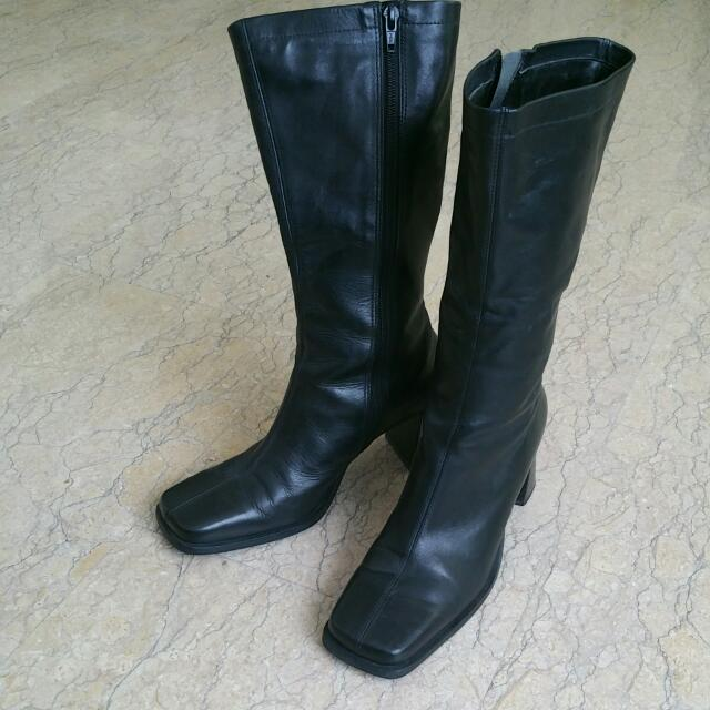 Black Leather Boot Shoes