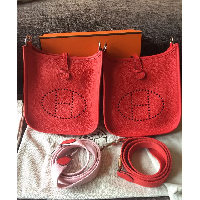 b15b66dba4ce BNIB HERMES MINI EVELYNE TPM 16 IN RED AND PINK! ROUGE TOMATE