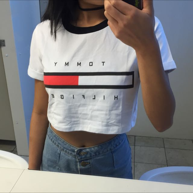Free Shipping Tommy Hilfiger Crop Top, Women's Fashion on