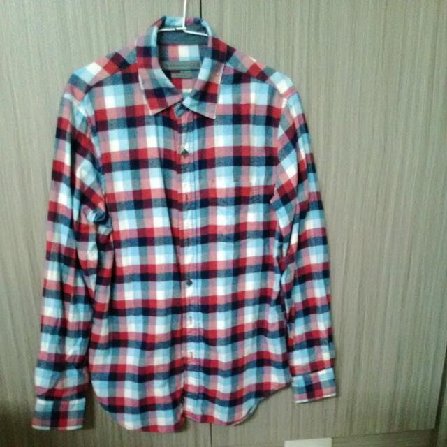 Giordano藍格襯衫(袖牛仔布)