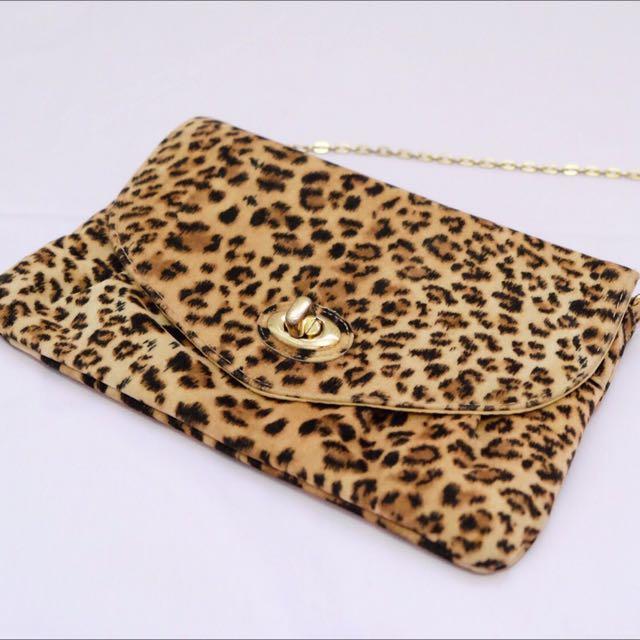 Leopard Fur Dorothy Perkins Clutch