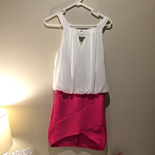 White And Hot Pink Bodycon