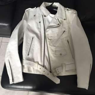 Men's White Leather Jacket