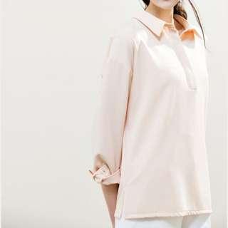 MEIER Q簡約氣質後打摺襯衫(白)