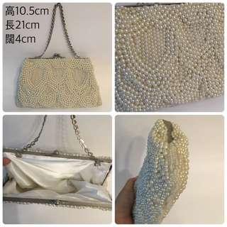 [二手系列]vintage復古全人手編織珍珠手提包clutch