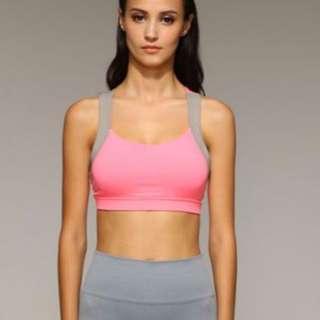 Hot PINK/Black Asymmetric Crossed-Back Sports Bra -Grey rimmed