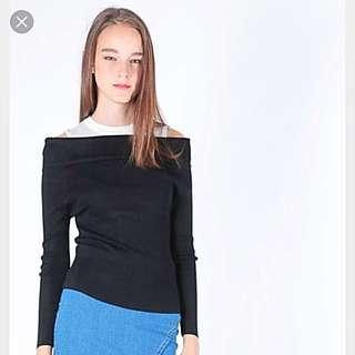 Color Block Drop Shoulder Knitted Top GREY